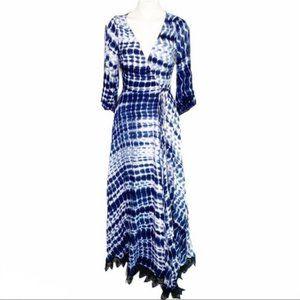 Line & Dot Blue Tie Dye Maxi Wrap Dress